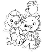 Three Little Pigs Coloring Sheets Bluebonkers