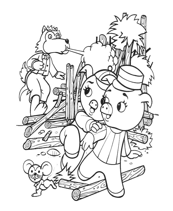 straw house coloring pages - photo#32